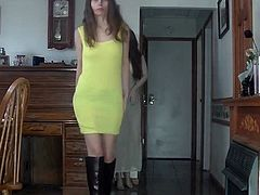 utfit of the day yellow mini dress and boot