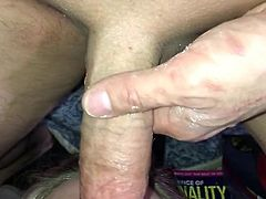 Amateur wife swallows my spit and sucks and gags on cock