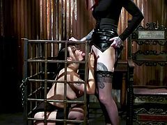 caged violet monroe has no choice but to suck a cock