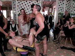 At first it is even difficult to understand what is happening here: a lot of people, everyone has fun and a naked woman with a chain around her neck. But this naked blonde hottie looks joyful and calm, she seems to like this crazy bdsm punishment... Join and enjoy!