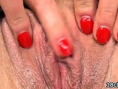Fervent chick is stretching slim snatch in close up a18yJq