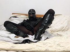 New leather boots and skirt