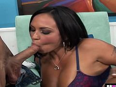 Jaw dropping brunette Mariah Milano is fucked by bald headed stud Johnny Sins