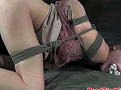 Boxtied blonde subs wet pussy pleasured