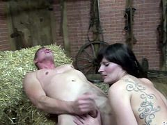 18yr old petite German Teen get fucked on farm and swallow