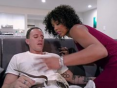 Misty Stone was so horny that she wanted to fuck the painter. She dragged him inside and wrapped her sexy ebony lips around his huge white cock. She really wants to have a taste of his thick sperm load.