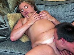 First he throws the busty mature on the couch and starts licking her plump pussy. Kiara Rizzi gropes her big titties and moans in pleasure, as the horny lover prepares her wet cunt for a proper fuck. Relax and enjoy!