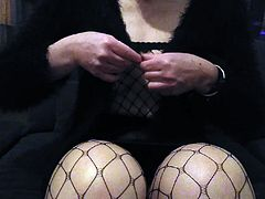 Upskirt fishnet stocking flashing exhib with toy  in her cun