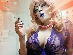 sissy niclo sexy blue lip makeup big tits smoking