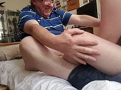 Older Guy Being Cock & Ball Slapped by Younger Essex Girl.