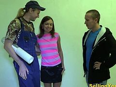 His Boyfriend is out of money. She undresses and fucks with another man while his lover watches