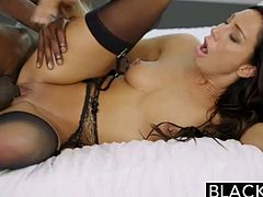 Enjoy this gorgeous brunette babe having fun with a black dude with a huge phat black monster of a cock in HD video today