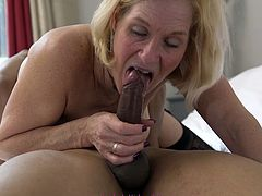 Check out this super hot and horny blonde grandmother getting her pussy drilled hard by an younger man.Watch her sucking and fucking in HD.