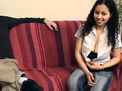 Enjoy this gorgeous brunette babe , AKA the FRENCH slut Samia , fucking a huge hard phat black rod in this High Definition video