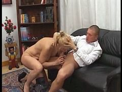 Hot blonde Italian mother sucks and fucks like a boss!