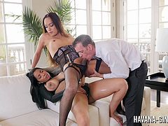 Havana Ginger met a new shemale friend, Jessica Fox and they had a bit of fun today! Havana fucked her shemale friend with a strapon before their guy friend joined in and sucked Jessica's shemale cock!