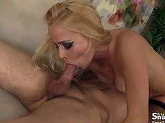 Hot blonde MILF babe Ardrona in stockings sucks and fucks a guy's dick hard