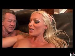 Horny blonde MILF with big tits wears stockings while being fucked without mercy.