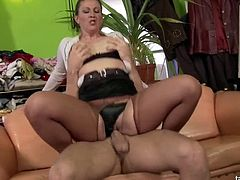 Just watch this hot mature slut sucking and fucking a young dude's hard cock and then drinking some piss because why not in HD video