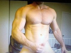 Hot muscle guy edging his huge hung dick