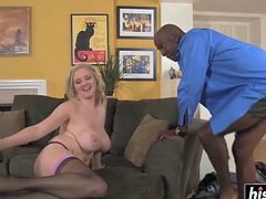 Horny blonde loves a black pecker