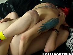 The boys are working up to the real action with a whole lot of oral, then fucking to splashing loads as Andrew gets that long dick up his ass!