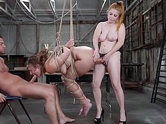 Gia Derza with her big and delicious ass always attracts a lot of attention and see where she is now... The sexy blonde babe is tied with ropes and hangs in the air, while Seth fucks her mouth with his big dick and Penny penetrates her pussy with a strapon... Join and have fun!