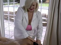 Bisexual granny Lacey, is naturally very tactile, and with so many of her porn actress friends hanging out at her place, the chance to get them naked and get oily together is never out of the question.