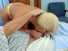 Perhaps I can understand the behavior of this sexy nurse, all because of her hard work, of course she needs to relax. The busty blonde milf enters the room to the patient and, without saying a word, begins to suck his cock. After a few minutes, when his dick is hard enough, she sits on top of him and... Join!