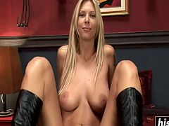 Horny Brooke Banner takes on two guys at the same time in various positions.