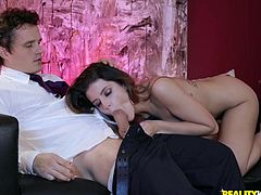 Michele James has a perfect body, pretty face and an incredibly wet pussy. Fantastic brunette with an amazing bubble butt and big natural tits enjoys being fucked by his long and hard cock, before she gives an amazing blowjob...