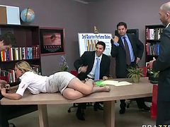 Hot cougar office babe Julia Ann fucked in the meeting
