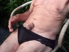 Black lacy panties outdoors (2)