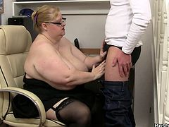 Bossy Dylan catches her employee watching porn on the internet. She gives him a good bollocking then fucks him