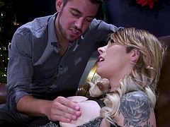 Dante has a few special presents to give to Casey on Christmas. First he gives her a vibrator that can bring her unprecedented pleasure. It fits snugly over her cock and makes her rock hard. Next she gets a brand new sex swing. She is so happy that she gives Dante his present: a sloppy blowjob.