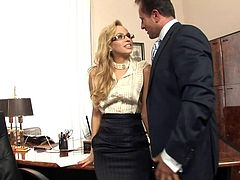 Blonde secretary, Aleska Diamond is called into the bosses office for a dictation but, first her he lays her back in her chair, pulls off her panties and does some mostly shaved, pussy licking before she climbs up onto his pole and rides it. Next, he rams his pipe into her tight asshole and drills her until she gives him a blowjob for a facial.