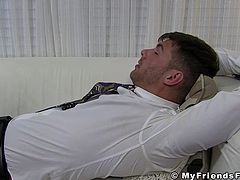 Gagged businessman gets his sweet feet smelled! Brads is a handsome young stud that had a really busy day so his feet are really smelly!