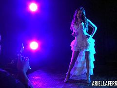Ariella Ferrera was at a glamour photo shoot and we decided to shoot some behind the scenes footage of this beautiful, busty brunette pornstar as she struts her stuff!