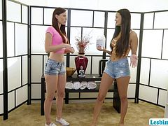 Eliza Ibarra and her friend Aidra Fox are hanging out together. They decides to have some fun by massaging that ends in wild scissor sex.