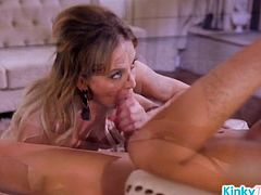 MILF Deepthroats a Shemale Cock and Gets Fucked from Behind