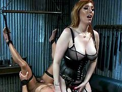 Dillon doesn't even try to resent and oppose Lauren, because he knows that the only way to get her forgiveness and disposition is to endure a well-deserved punishment, whichever his charming mistress would come up with... Redhead busty dominatrix will drive you crazy! Join!