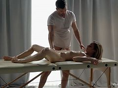 NestyKristof Cale treats his princess with a sensual massage that leaves her naked body horny. He uses a vibrator to make Nestys pussy wet and then this sensual couple has passionate sex that ends with an intense orgasm for this hot blonde