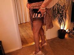 Sindy in see thru blouse and leopard print skirt