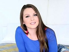 Pretty brunette Cali Hayes gets drilled through