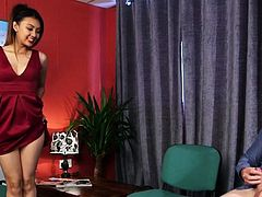 Glam clothed asian domina